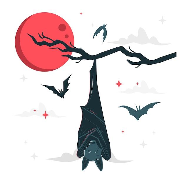 Sleeping bat concept illustration Free Vector