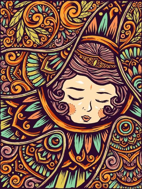 Sleeping beauty girl etnic flower mandala background Premium Vector