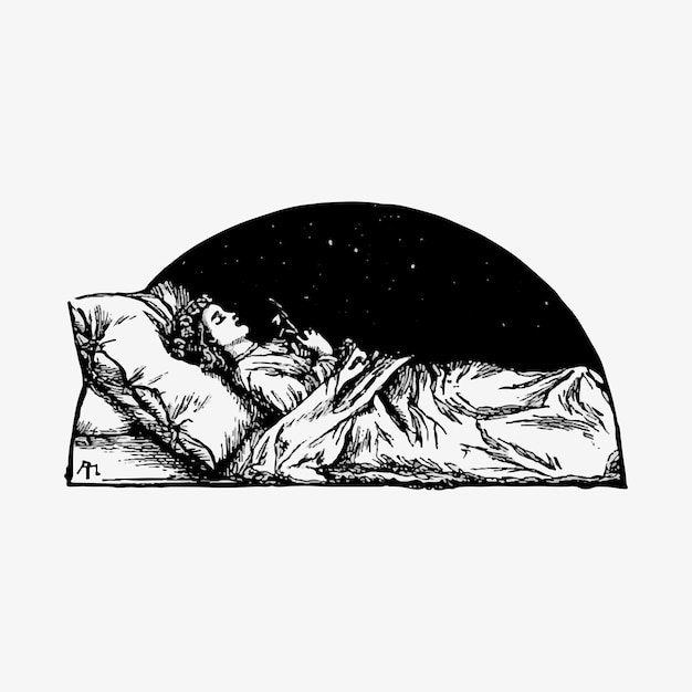 Sleeping beauty vintage drawing Free Vector