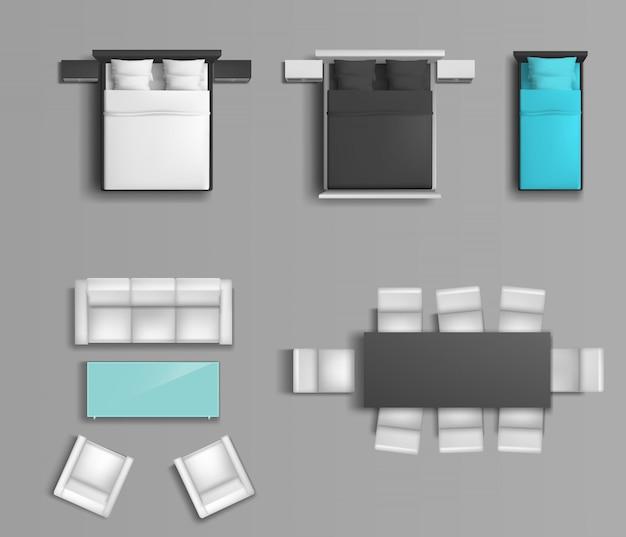 Спальная кровать с разным цветом постельного белья и подушек, мягкие стулья и обеденный стол Бесплатные векторы