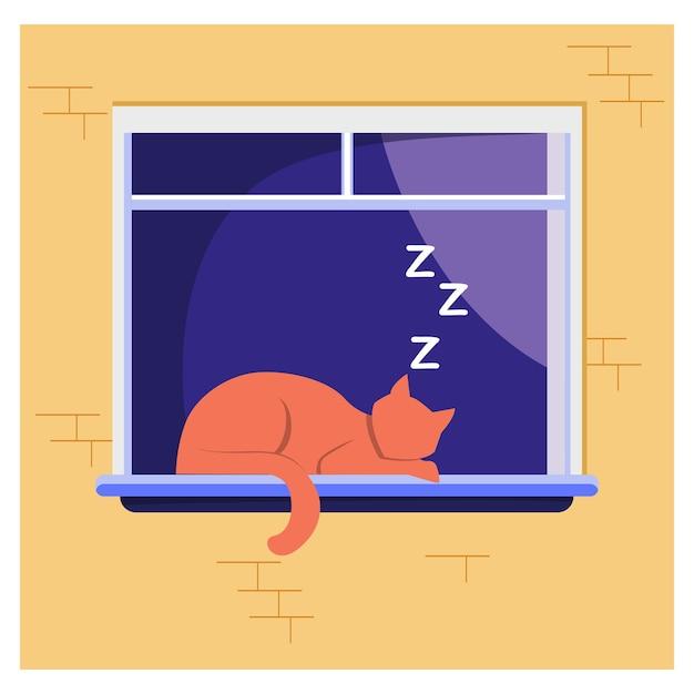 창에 누워 잠자는 고양이. 애완 동물, 집, 바람둥이 평면 벡터 일러스트 레이 션. 가축과 휴식 개념 무료 벡터