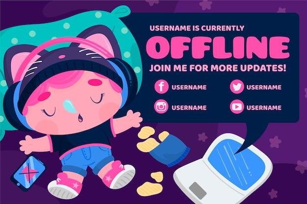 Sleeping character twitch offline banner template Free Vector