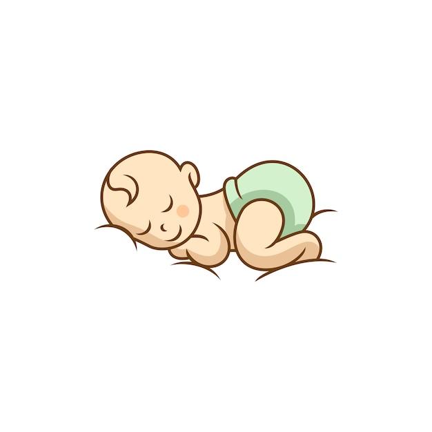 Sleeping cute baby logo designs template Premium Vector