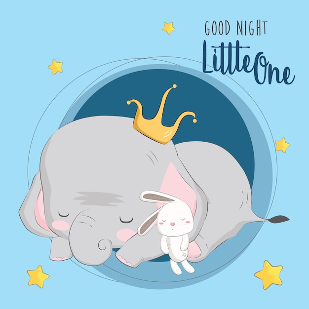 Sleeping elephant with its doll Premium Vector
