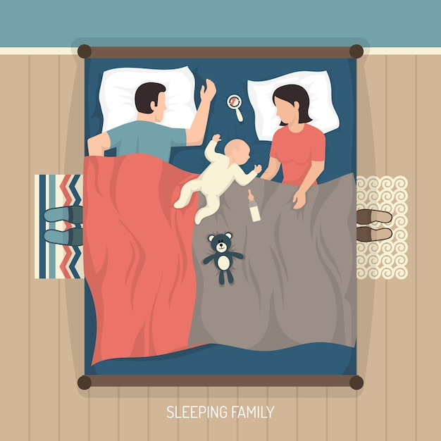 Sleeping family with nursing baby Free Vector