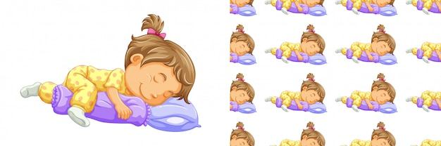Sleeping girl seamless pattern isolated on white Free Vector
