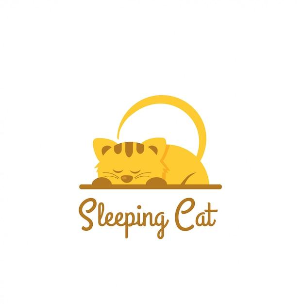 Sleeping logo Premium Vector