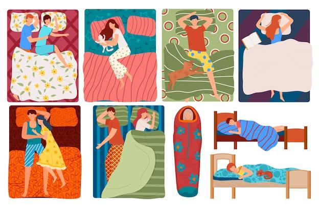 Sleeping people in bed set of illustrations Premium Vector