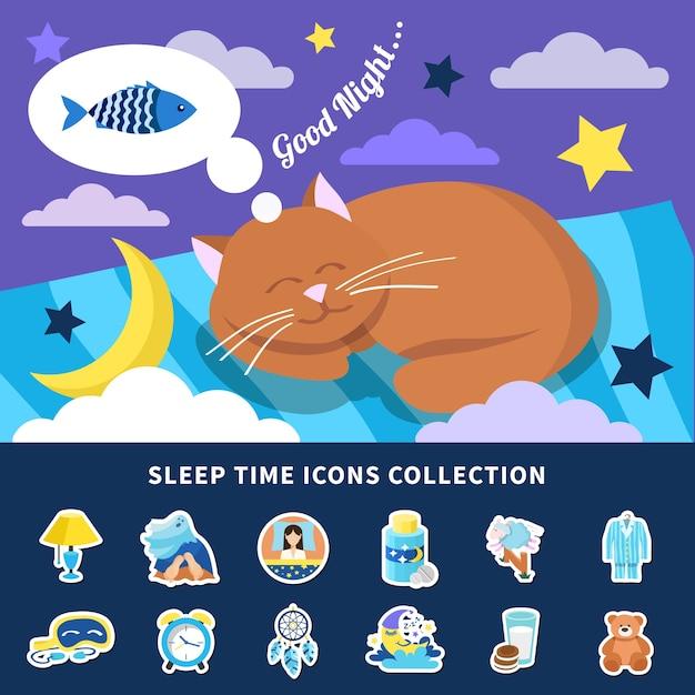 밤 꿈 빨간 고양이 배너 침실 장식 스티커 격리와 잠자는 시간 평면 아이콘 모음 무료 벡터