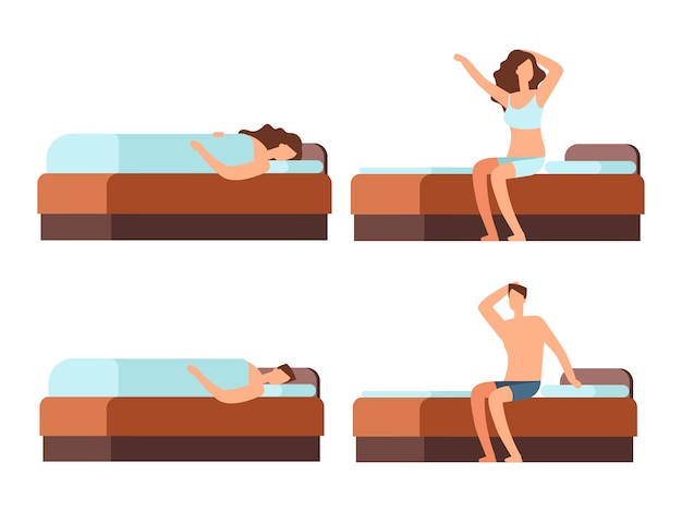 Sleeping and wake up man and woman cartoon character Premium Vector