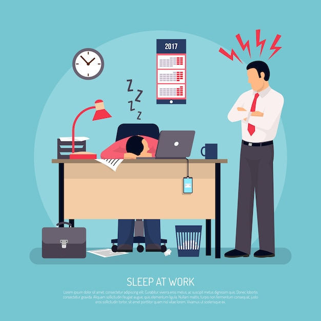 Sleeping at work flat poster Free Vector