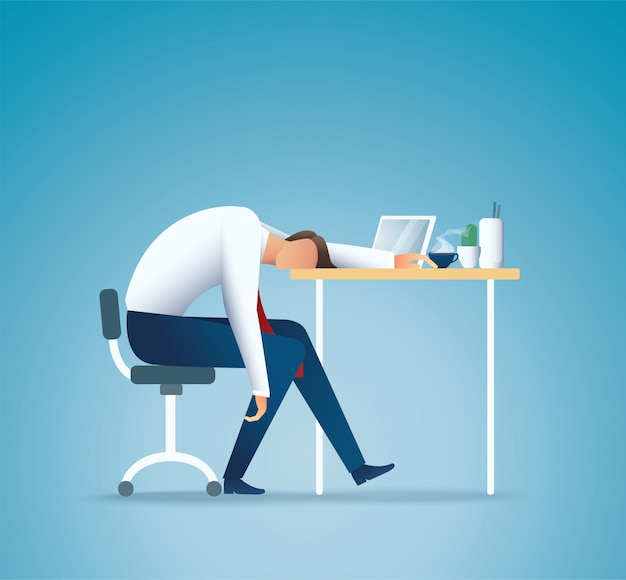 Sleeping at work. tired business man. overworking concept Premium Vector