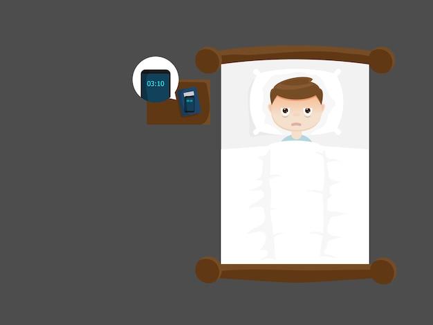 Sleepless man on bed in night Premium Vector