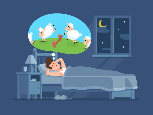 Sleepless man in bed trying to fall asleep counting jumping sheeps. count sheep for insomnia cartoon vector concept Premium Vector