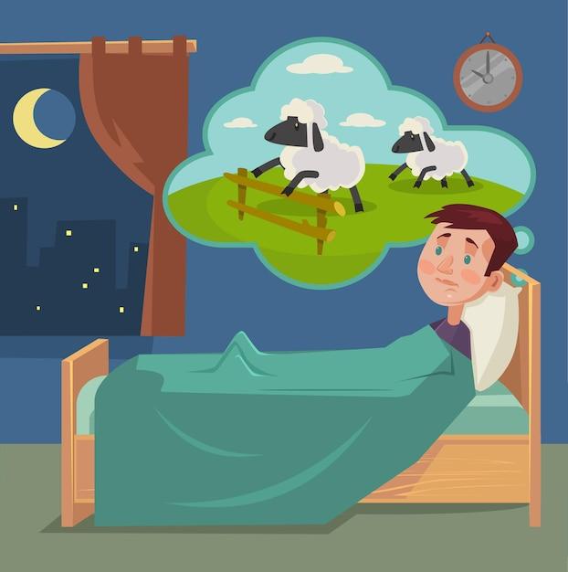 羊の漫画イラストを数える眠れない男 Premiumベクター