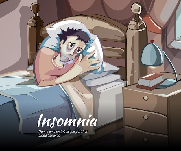 眠れないベクターキャラクター。不眠症と不眠症、寝室の人のイラスト 無料ベクター