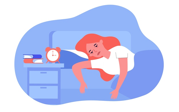 Sleepless woman lying in bed with fatigue Premium Vector