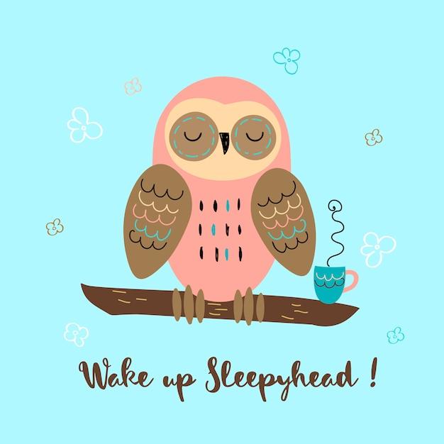 A sleepy owl in a cute style Premium Vector