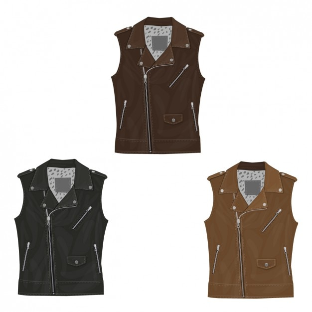 sleeveless leather jacket collection vector free download