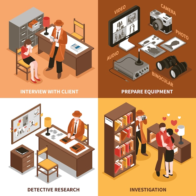 Sleuth isometric design concept Free Vector