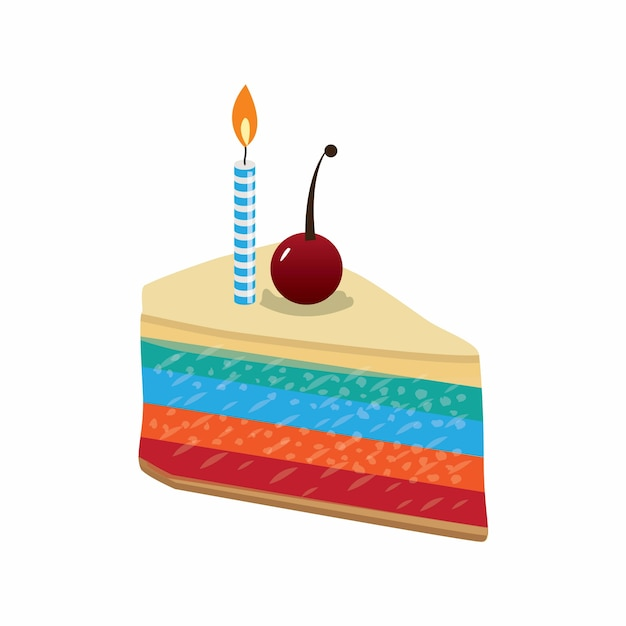 Slice of birthday cake with beautiful cherry garnish and candles