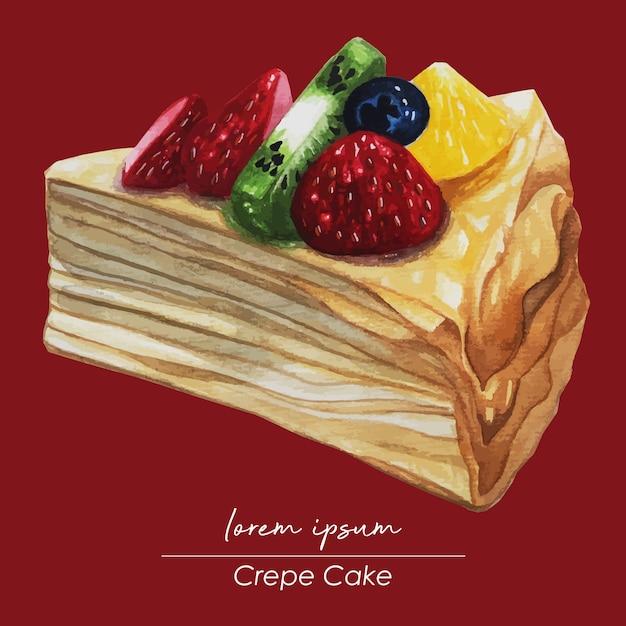 Кусочек фруктового крепа торт акварельная живопись Premium векторы