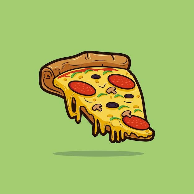 ピザのスライスのイラスト。 Premiumベクター