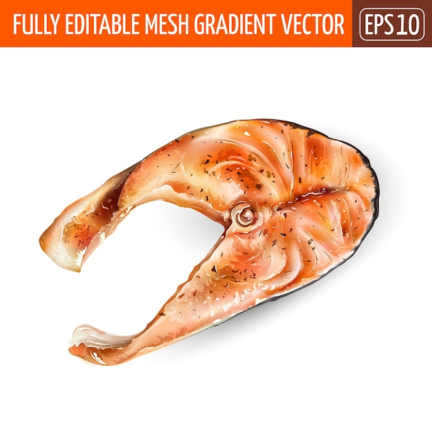 白い背景の上の赤い魚のサーモンのスライス。 Premiumベクター