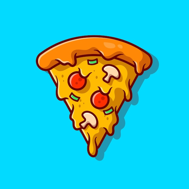 Slice of pizza melted cartoon icon illustration. Free Vector