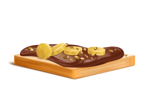 Slice of wheat bread with peanut butter, chocolate cream or nougat spread realistic with banana slices Free Vector