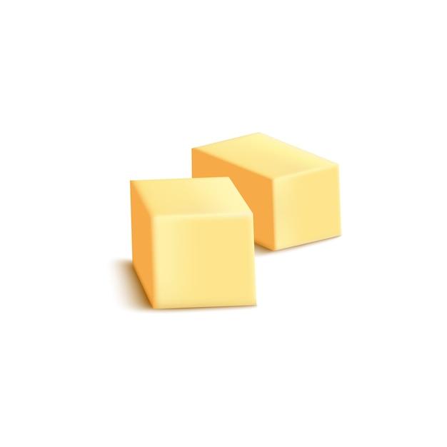 スライスしたバターやマーガリンブロック白い背景のリアルなイラスト。包装用の日記成分テンプレートを焼き、調理します。 Premiumベクター