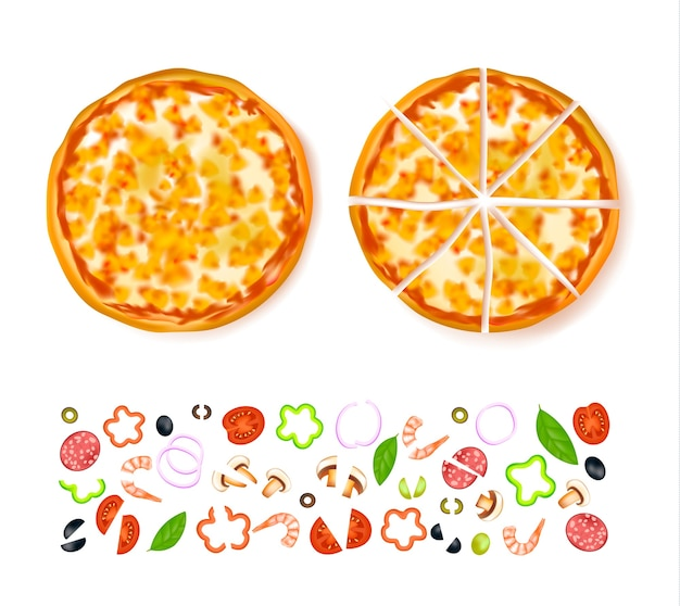 Sliced empty pizza composition Free Vector