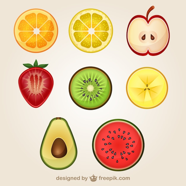 Sliced fruits pack Free Vector