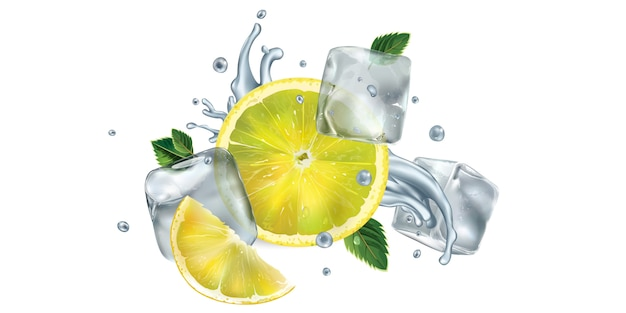Нарезанный лимон, листья мяты и кубики льда с плеск воды Premium векторы