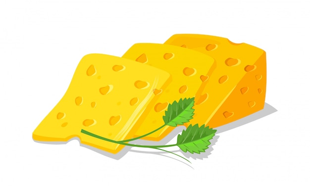 Slices of delicious swiss or dutch yellow porous cheese for toasts, sandwiches garnished with greenery. appetizing breakfast, snack. cartoon realistic  illustration  on white background. Premium Vector