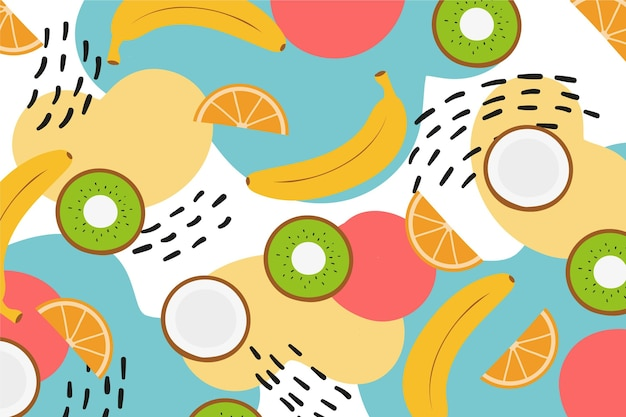 Slices of kiwi and citrus with bananas Free Vector