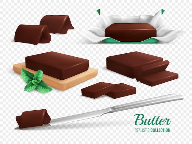 スライスロールとおいしいチョコレートバターの現実的なセット図の棒 無料ベクター