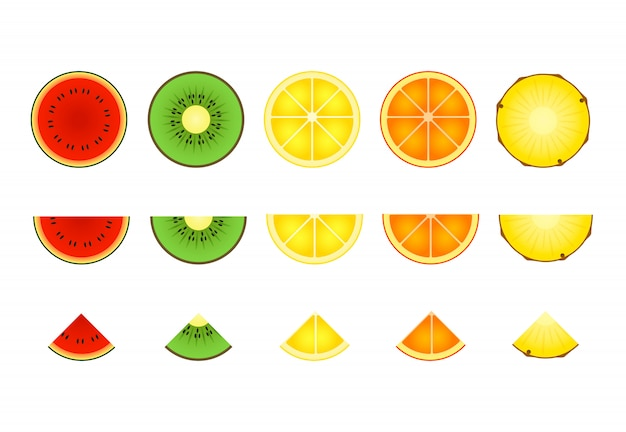 Slices of tropical fruit set Free Vector