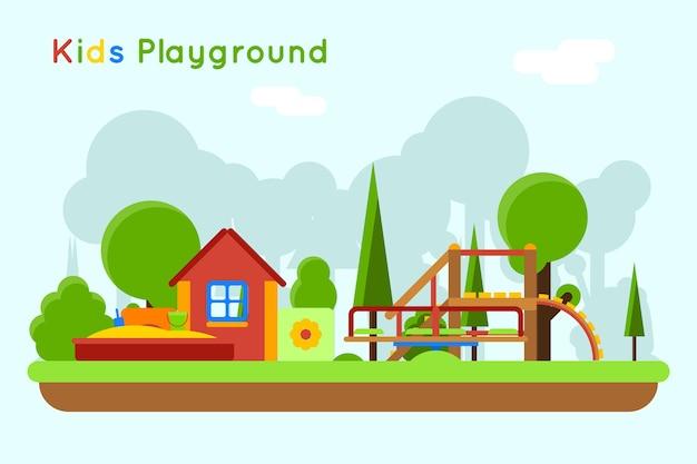 すべり台と砂場の遊び場。屋外と砂、おもちゃの子供時代 無料ベクター