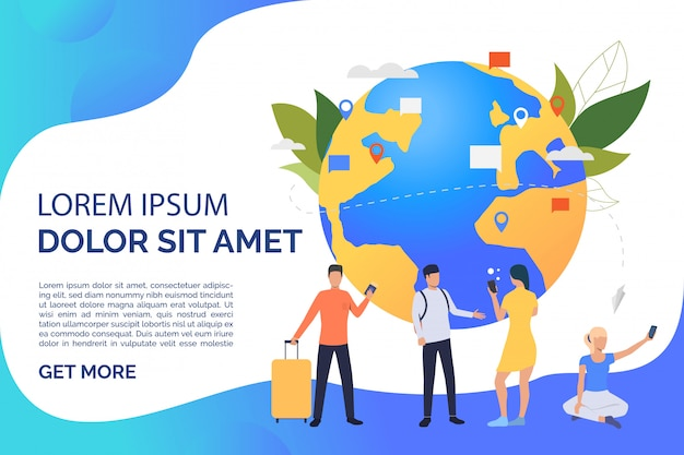 Slide page with globe, travelling and communicating people Free Vector