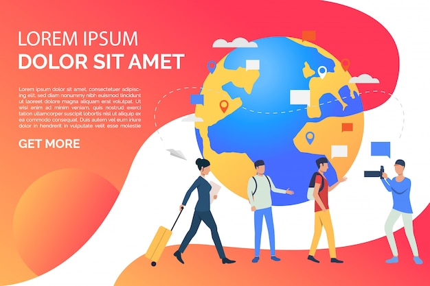 Slide page with globe and travelling people illustration Free Vector