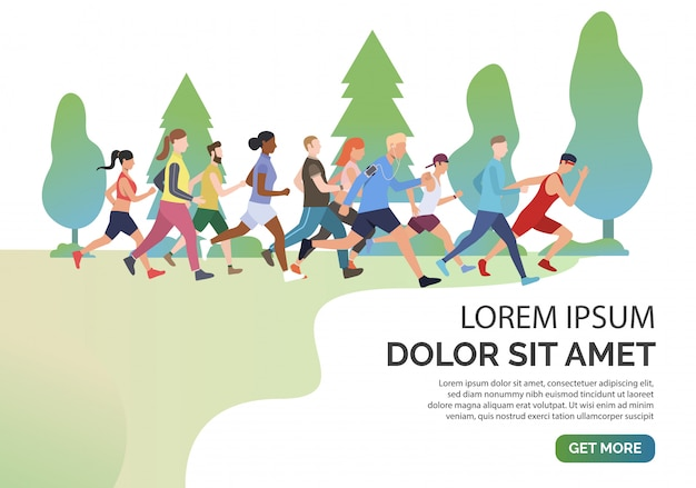 Slide page with people jogging together in park Free Vector