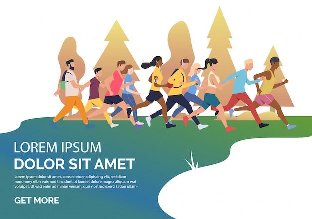 Slide page with people running marathon illustration Free Vector
