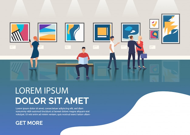 Slide page with people visiting art gallery illustration Free Vector