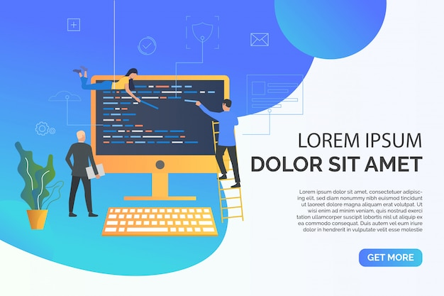 Slide page with people writing web code illustration Free Vector
