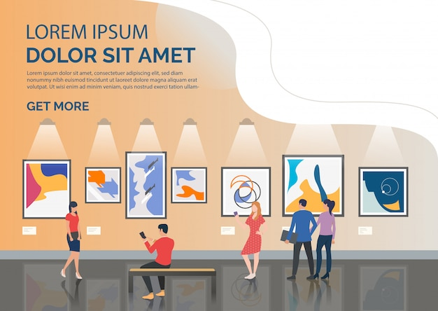 Slide page with tourists looking at artworks illustration Free Vector