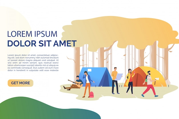 Slide page with tourists resting at tents illustration Free Vector