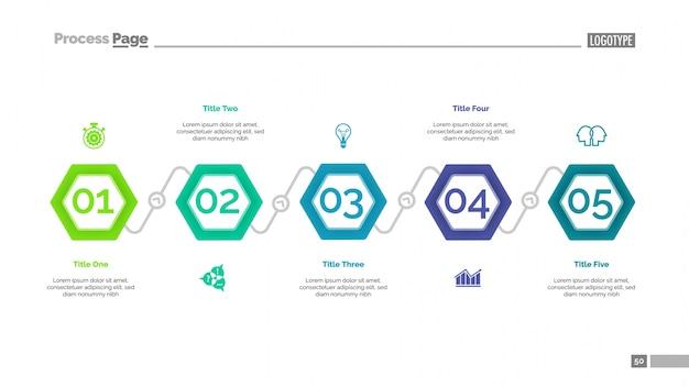 Технологическая схема с пяти элементами slide Бесплатные векторы