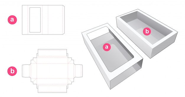 Sliding packaging with cover which is window die cut template Premium Vector