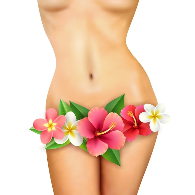 Slim woman body with flower Free Vector